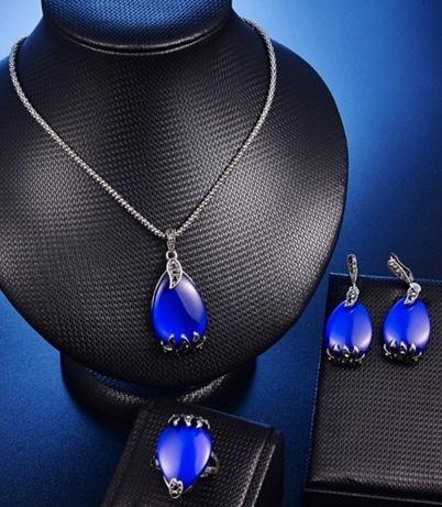 """Tytanowa biżuteria z pięknymi topazami w kolorze """"paryskiego błękitu"""";"""