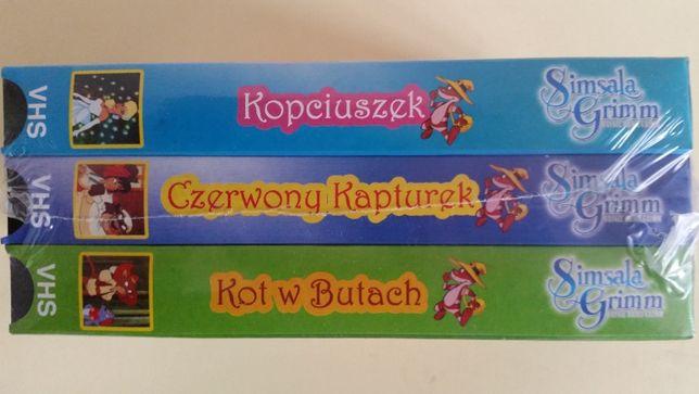 Kasety VHS z bajkami 3 szt. NOWE