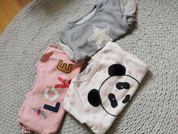 98 104 bluza panda sweter szary pudrowy koronka piękne Zara next