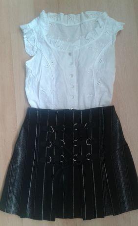 Bluzka S 36 biała spódnica czarna rozpoczęcie zakończenie roku szkoły