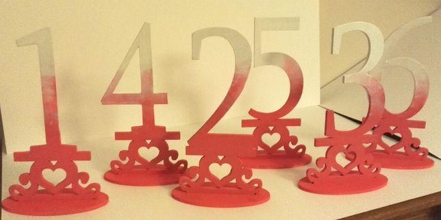 Cyfry, cyferki na stoły wesele, ślub ombre różowe