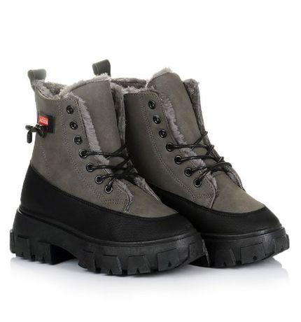 Серые женские ботинки зима зимняя обувь 38