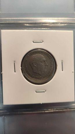 Moeda de 5 pesetas de 1957 com erro de cunhagem