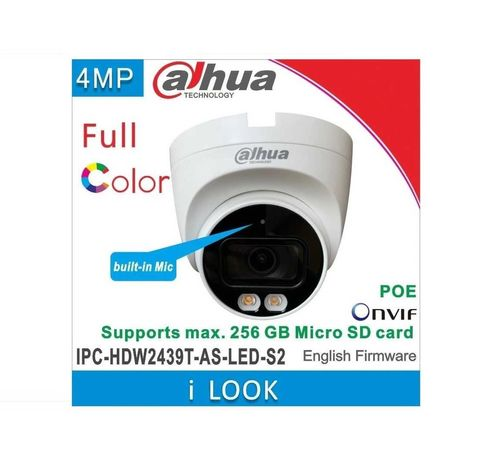 IP камера 4 мп Dahua IPC-HDW2439TP-AS-LED-S2 - Full Color с микрофоном