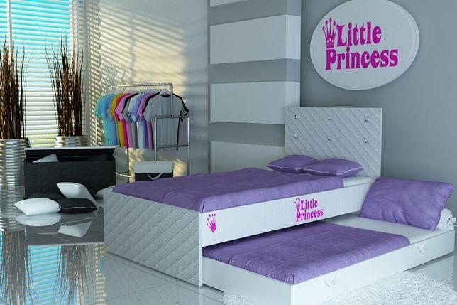 Białe łóżko piętrowe-wysuwane dla dzieci+materace,KRYSZTAŁY-Brzeg
