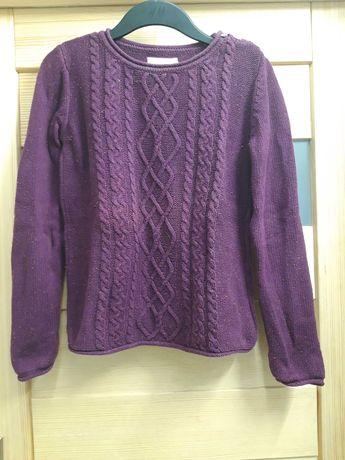 Bawełniany sweter dziewczęcy bordowy H&M LOGG 170 cm