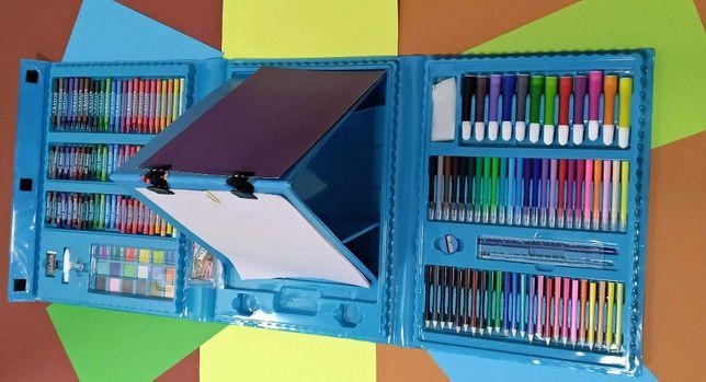 Новий набір для малювання 208 предметів фломастери, фарби, олівці