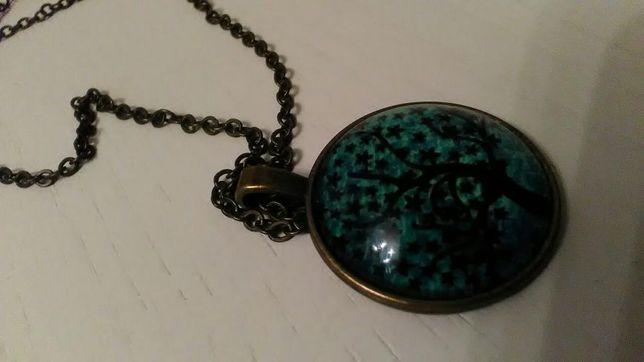 Naszyjnik szklany hand made drzewko szczęścia zielony naszyjnik wisior