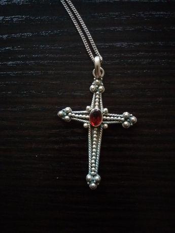 Śliczny srebrny łańcuszek z krzyżykiem/ pr 925 z pierścionkiem z ag