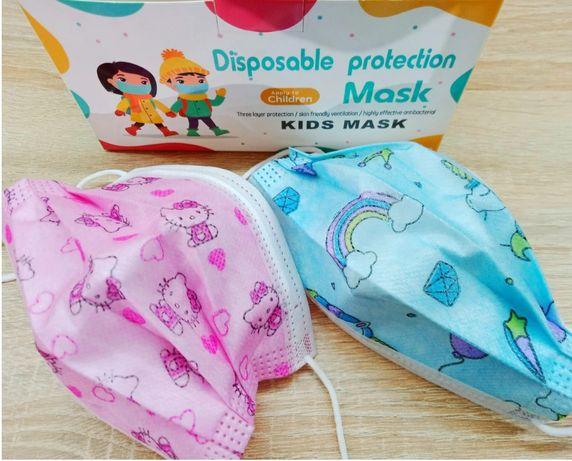 Маски детские защитные одноразовые 50 шт в коробке