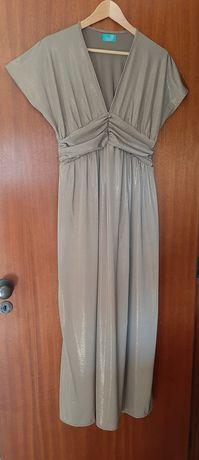 Vestido de licra comprido bege brilhante da Vintage Bazaar - NOVO
