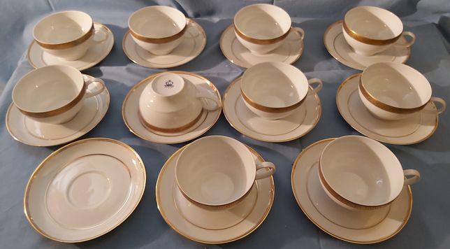 Serviço de chá - 21 peças Branco e ouro.