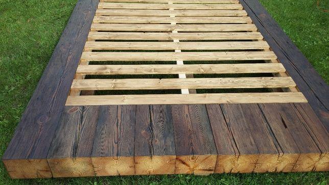 łóżko ze starych belek stropowych, stare drewno sosna kantówka
