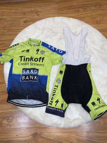 Strój kolarski koszulka + spodenki Saxo-Tinkoff rozmiar M