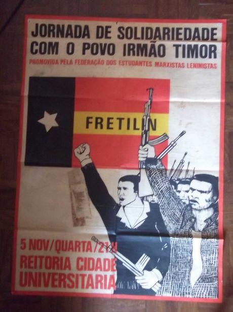 Mega/RARO CARTAZ/POSTER Ano 1975 - FRETILIN POVO IRMÃO TIMOR 67x48 cm