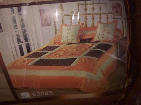 Narzuta 240x260 duza pomarańcz brąz. Super prezent