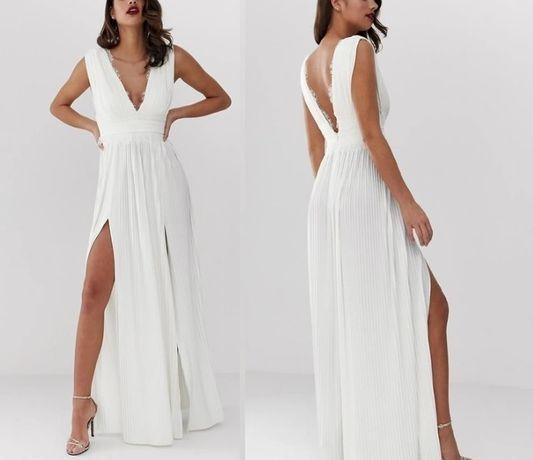 Suknia ślubna cywilny biała ecru 40 42 L XL z rozcięciem plisowana