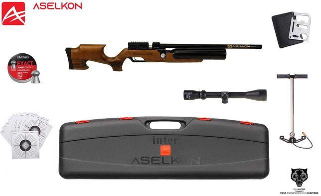 133 09 Wiatrówka Aselkon MX6 kal.5.5mm ZESTAW! DREWNO