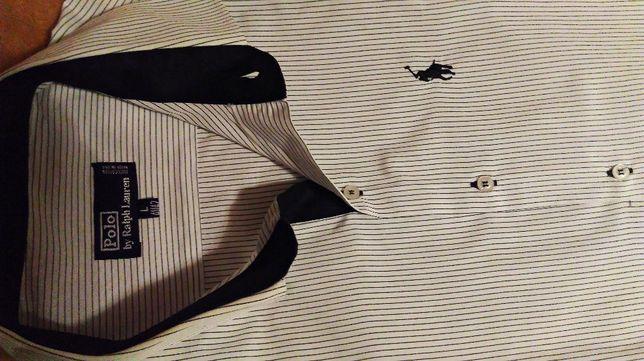 2Ralph Lauren Polo koszula męska L biała czarne paski bawełna eleganck