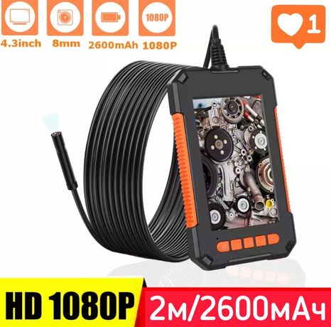 Эндоскоп P40 FullHd Экран 4.3 Аккумулятор 2600мАч Качество 5*