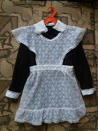 Школьная форма СССР Ретро.Платье и 2 передника, фартука. Черный шерсть