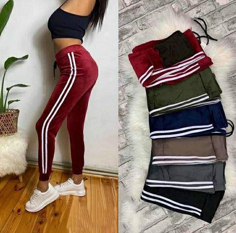 Spodnie dresowe lekko ocieplane welurowe