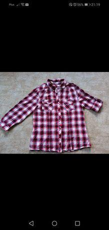 Koszula w kratę podwijany rękaw. S/M 3/4 rękaw lub krutki