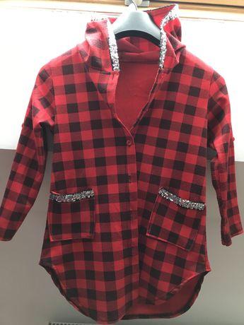 Koszula w kratę z kapturem