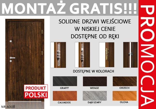 Drzwi do BLOKU wejściowe - zewnętrzne z MONTAŻEM ,Wyprzedaż!! Polskie