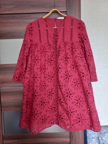 Zara платье прошва хлопок набивной бордовое