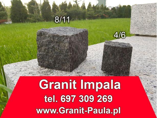 Kostka granitowa, czarny granit Impala - 4/6 i 8/11, czarna brukowa
