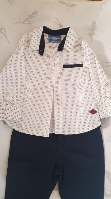 Coccodrillo elegant komplet na chrzest lub inne okazje koszula i spodn