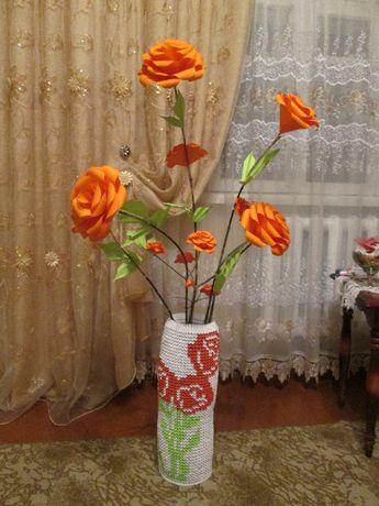 Ваза велика з квітами (ручна робота)