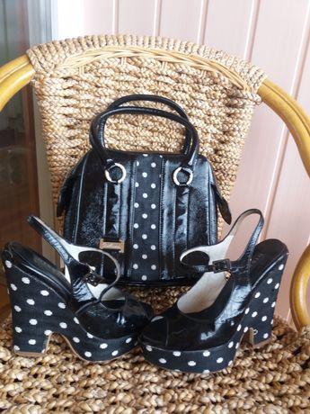 Итальянская кожаная сумка и босоножки, комплект