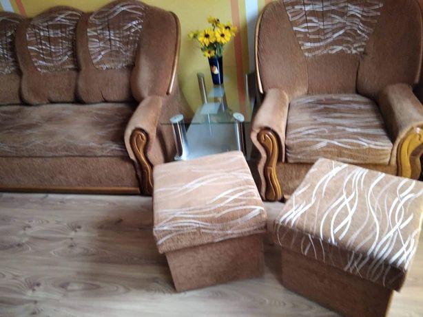 Komplet zestaw wypoczynkowy sofa 3 rozkładana pufy fotel