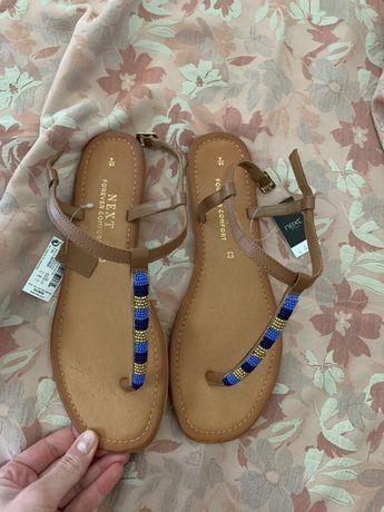 Sandały japonki klapki nowe skórzane rozmiar 40 boho paseczki