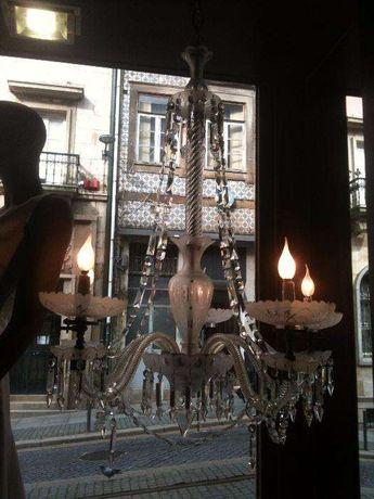 Lustre candeeiro em cristal de tecto