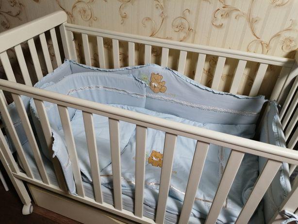 Комплект постель защита бортики балдахин в кроватку мальчику
