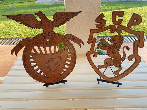 Emblema em madeira Benfica / Sporting