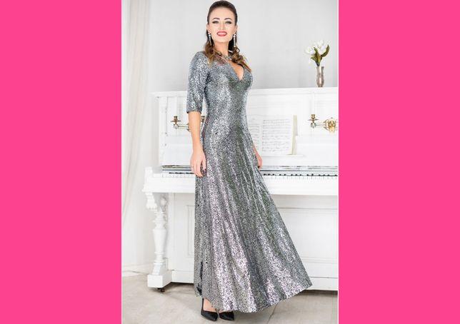 Новое вечернее платье макси с пайетками длиное модное стильное паетки