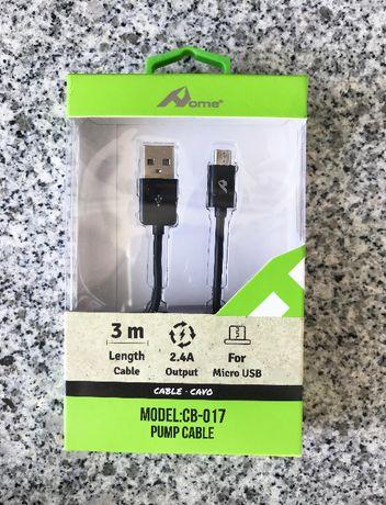 Cabo carregador Micro USB - 3 metros - Novo