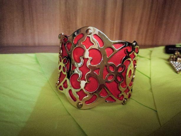 Bransoleta Złota czerwona Bogato zdobiona Ornamenty