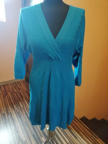 Sukienka sweterkowa niebieska jesień S M L chaber błękitna