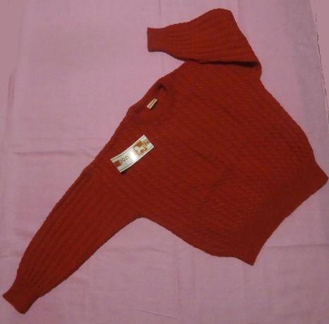 В'язана кофта для дівчинки червоного кольору, на вік 4-5 років