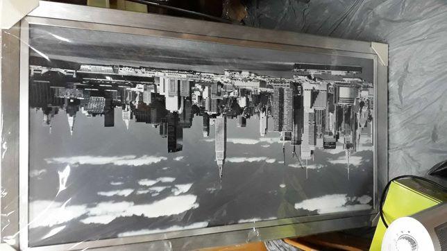 Obraz duzy nowy nowy jork srebrna rama czarno biala transfer foto