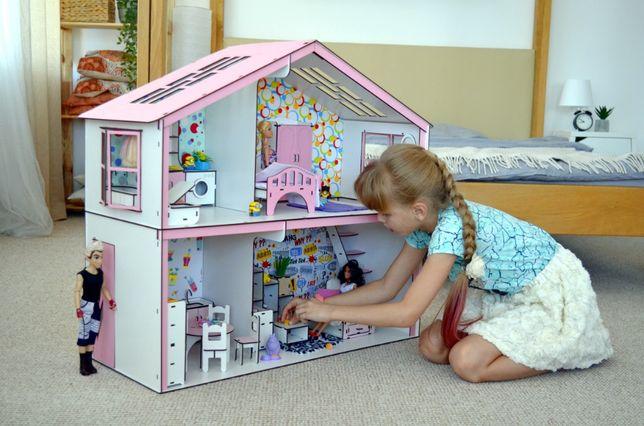 - 38% на деревянный домик для барби с мебелью, домик для кукол