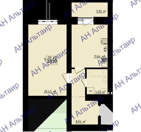 НИЗКАЯ ЦЕНА! ЖК Левада 2! Продам 1 ком. квартиру 46 м² пр. Гагарина F