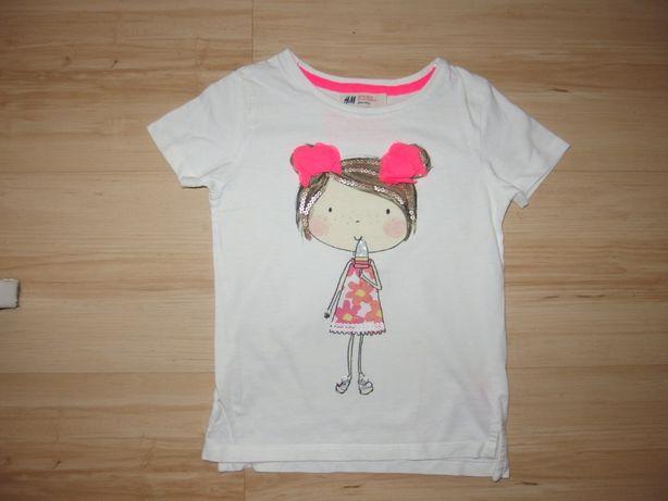 H&M biała koszulka bluzka na lato aplikacją t-shirt dziewczęcy 2 3 lat