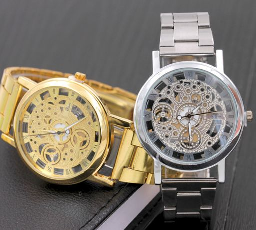 Наручные женские часы СКЕЛЕТОН золото/серебро 2цвета / годинник