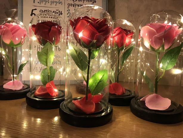 Новинка на 8 марта. Роза в стеклянной колбе + разные цвета